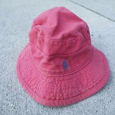Polo Ralph Lauren Fishermans Sun Hat Faded Red Floppy Cap Adult Medium Made USA