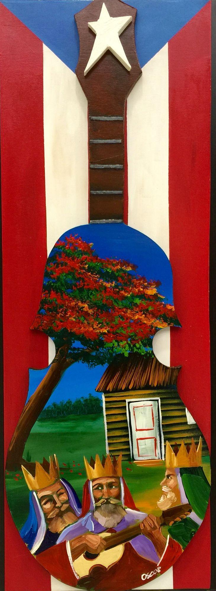 Artesanía de Puerto Rico. Reyes magos, flamboyán y casita sobre cuatro puertorriqueño y bandera de Puerto Rico al óleo sobre madera.