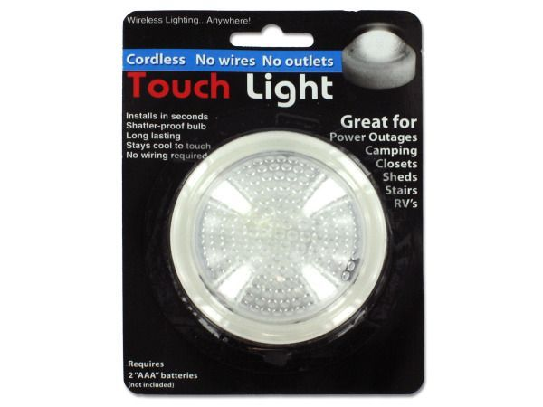 "Compact Touch Light, 48 - Great for power outages, camping, closets, sheds, stairs and RVs, this Compact Touch Light installs in seconds, has a shatter proof bulb, is long lasting, stays cool to touch and there is no wiring required! Uses 2 ""AAA"" batteries (not included) . Measures approximately 3"" in diameter. Comes packaged in a blister pack.-Colors: transparent,white. Material: plastic. Weight: 0.2154/unit"