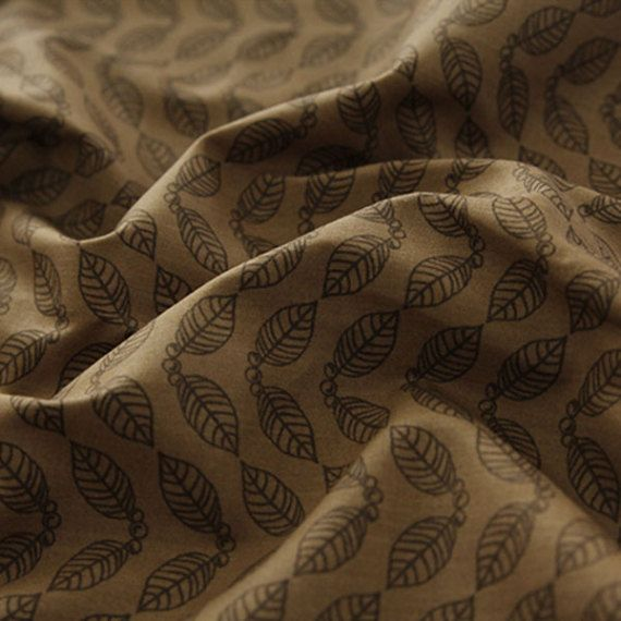 Tela de algodón café sello hoja patrón de las yardas 44