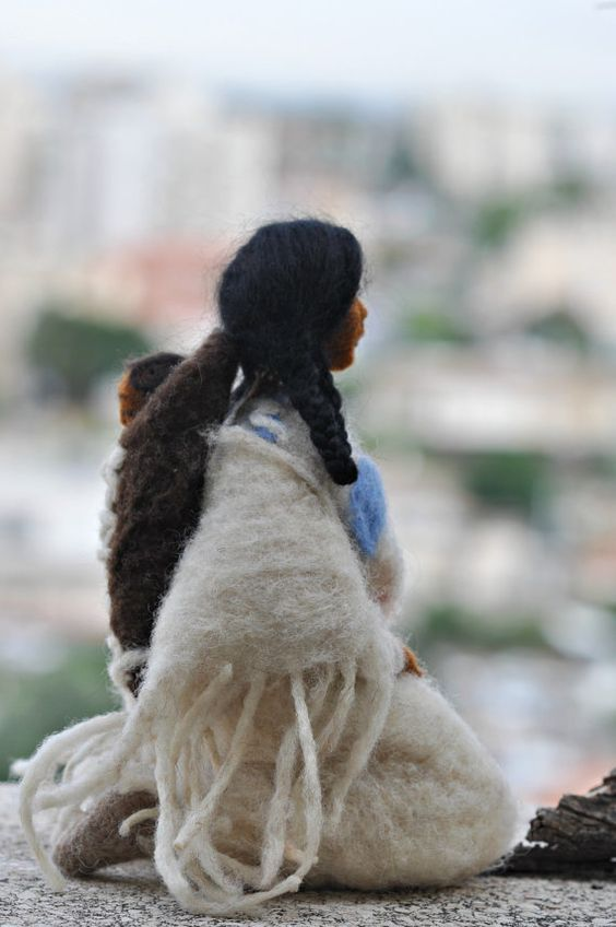 Needle felted Doll Native American:
