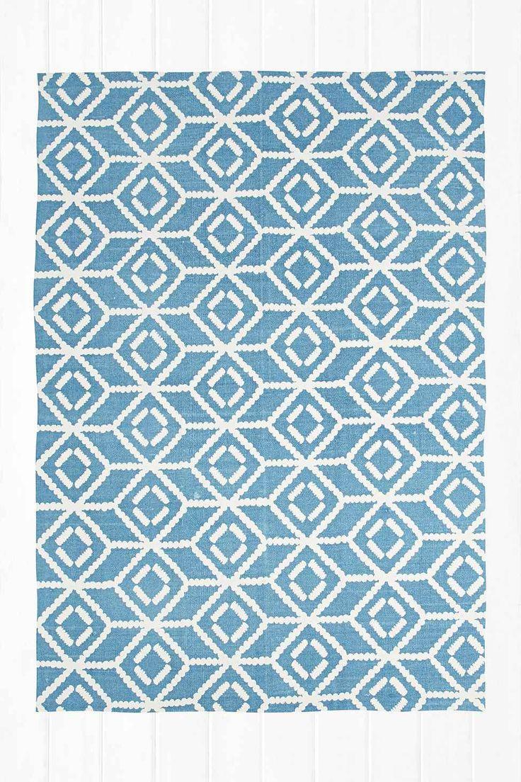 Teppich mit gespiegeltem, gepunktetem Design in Blau, 5 x 7 Fuß