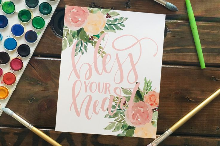 Bless Your Heart Handlettered Art Print, Handlettered Southern Saying with Watercolor Flowers by MagnoliaBelue on Etsy