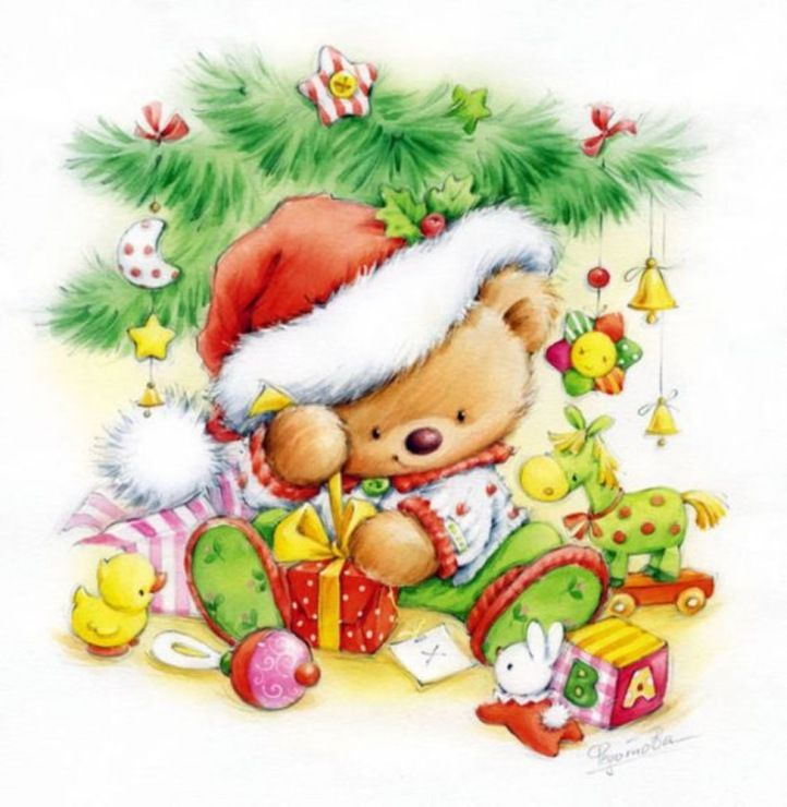 Детьми, открытки с мишками на новый год