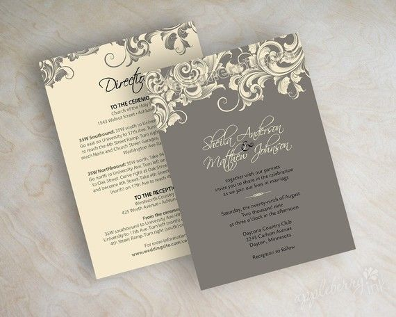 Vintage, victorian wedding invitations with filigree pattern in charcoal gray and ivory