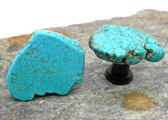 Turquoise Cabinet Knobs, Standard Size -Set of 2, Stone Cabinet Knobs, Kitchen Knobs and Pulls, Southwest, Stone Knobs