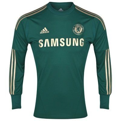Chelsea Boys Home Goalkeeper Shirt 2012-13 by adidas. $78.00. This is the new Chelsea Boys Home Goalkeeper Shirt that will be worn by Petr Cech during the 2012-13 season. The Chelsea goalkeeper shirt is green with stylish new gold details. The shirt represents the values of the club by combining roots, tradition and glory elements. The gold details bring life to the shirt's new design. The Samsung sponsor logo, Chelsea club crest, Adidas logo and stripes are gold. There is a...