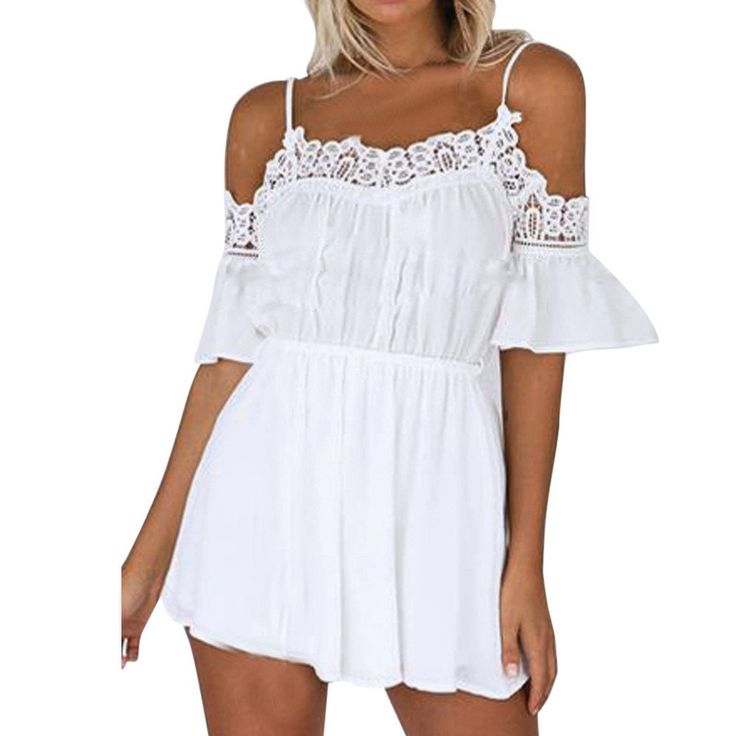 BEAUTIFUL HOT SELLER Feitong Sexy Off Shoulder Lace Beach Jumpsuit WHITE S-XL