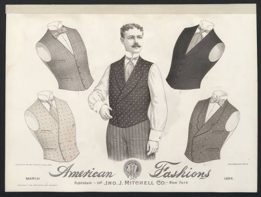 1890-1895, Plate 041. Fashion plates, mens 1880-1939. The Costume Institute Fashion Plates. The Metropolitan Museum of Art, New York. Gift of Woodman Thompson (b1752524x)   These men's vests are from 1894. #fashion