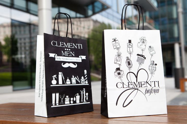 Black and White design for a multi-purpose paper bag, custom made for Clementi