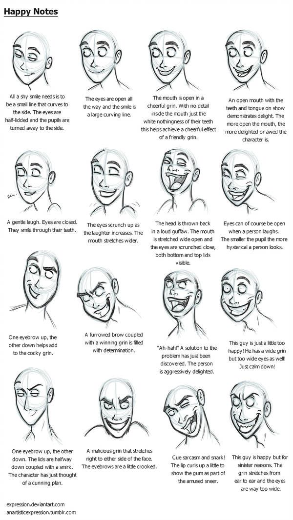 Happy Notes By Expression Facial Expressions Drawing Happy Face Drawing Drawing Expressions