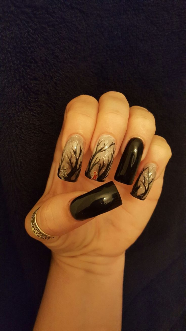 Long nail,acrylics, red riding hood, Halloween, black,gray ...