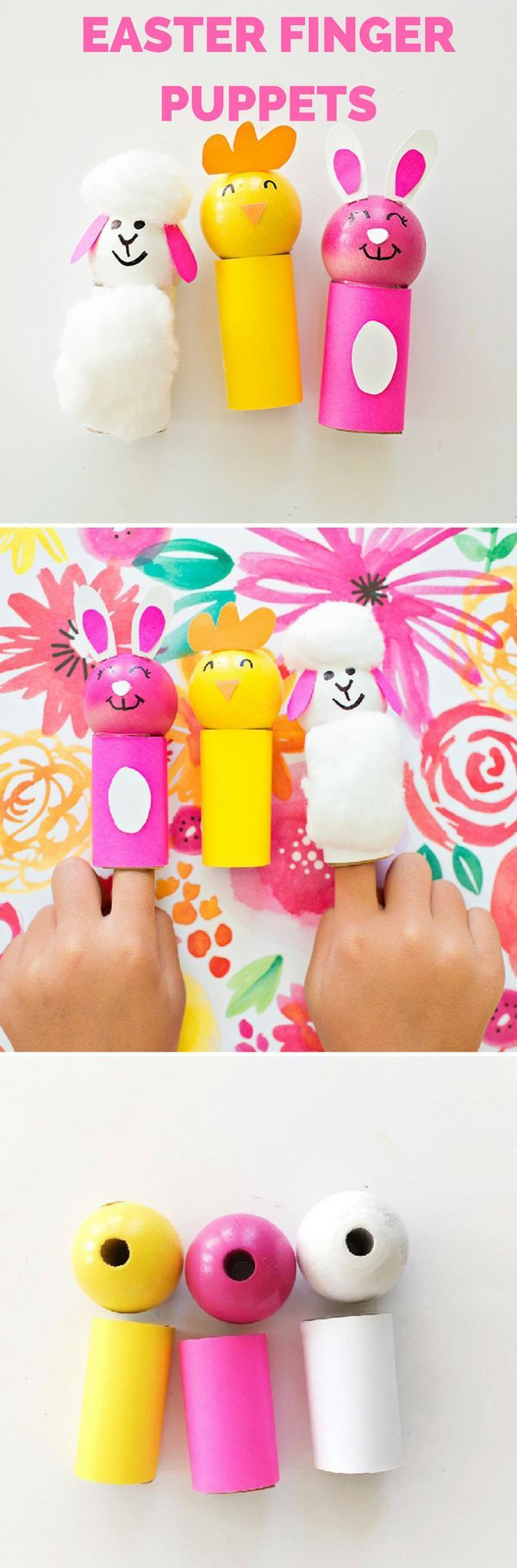 EASTER CHICK BUNNY AND SHEEP FINGER PUPPETS