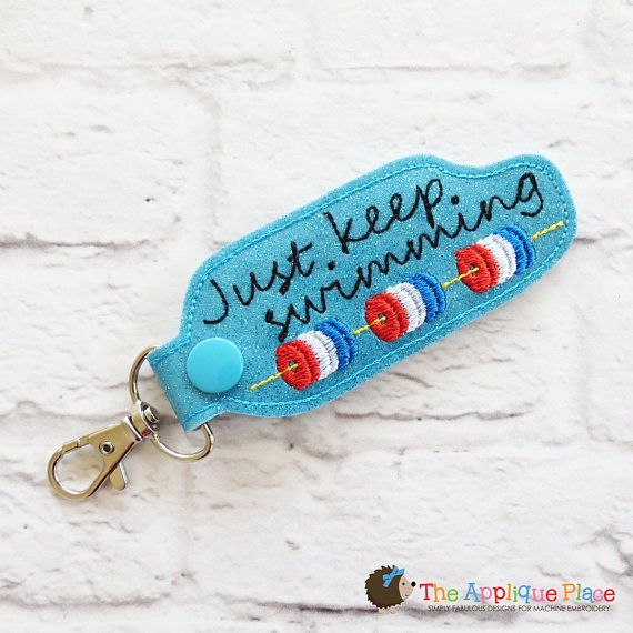 Key Fob Embroidery Design - Swimming Snap Tab - Embroidery