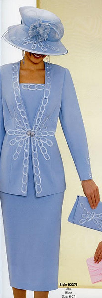 Fifth Sunday Blue Microfiber Satin Embellished Skirt Jacket Church Suit Size 12