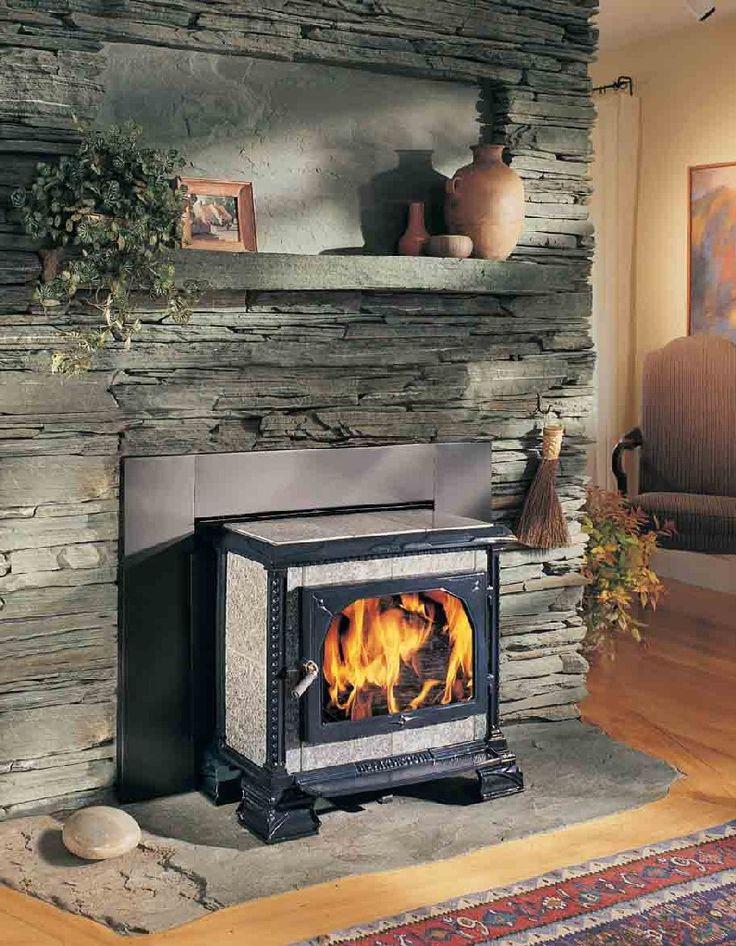wood stove hearth and mantel | Hearthstone - Homestead Soapstone Stove - Hearth mount