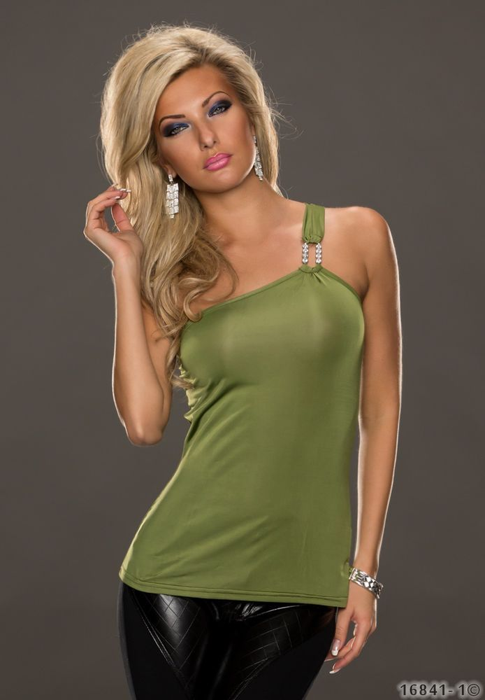 Sexy One Shoulder Top Shirt Party top Blouse tailored Stretch Olive green