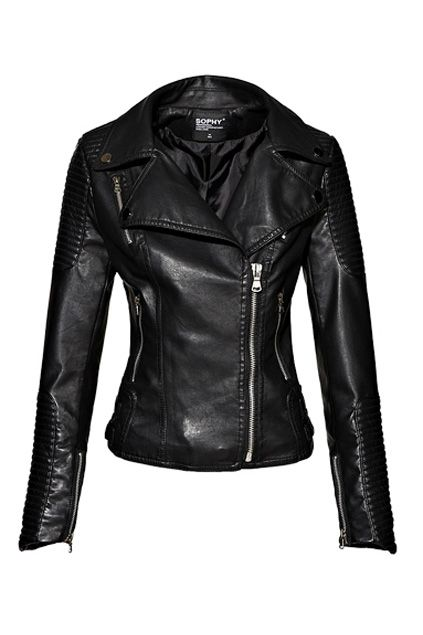 Quilted Detail Asymmetric Zip Closure Biker Jacket OASAP.com