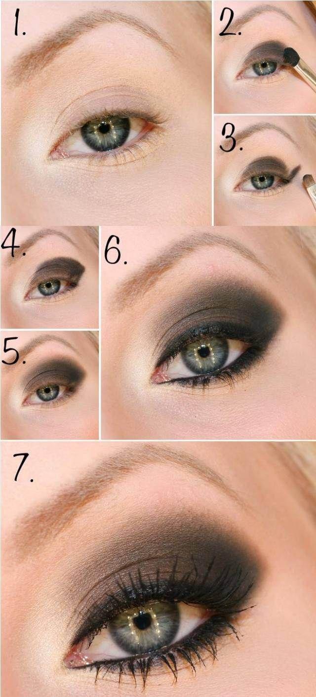 maquillage des yeux dramatique en marron foncé, eye-liner noir et mascara