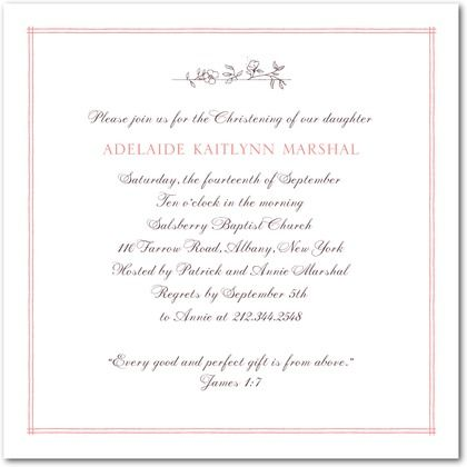 Baptism, Christening Invitations Blessed Branch - Front : Strawberry