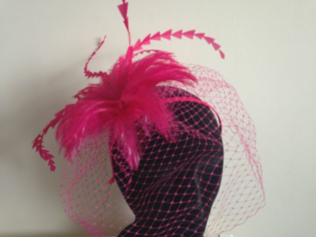 Cerise Bright Pink Veil Fascinator Wedding Ladies Race Day Hair Accessories | eBay