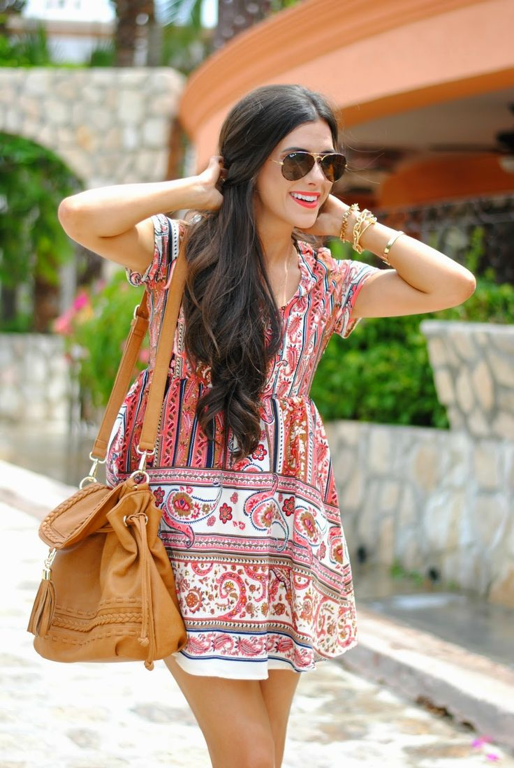Casual/ Spring-Summer/ Paisley print dress, long strap camel color shoulder bag, aviators, gold bracelets