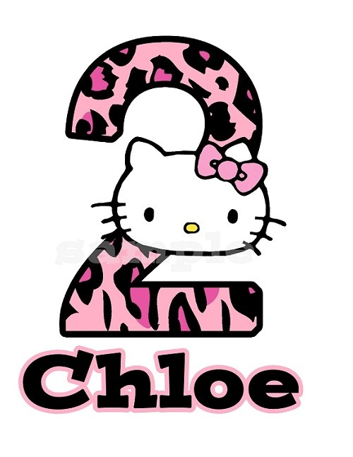 Personalized Hello Kitty Pink Leopard T Shirt Or Onesie Birthday Party