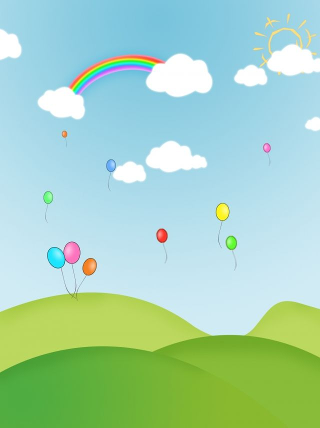 Hand Drawn Blue Sky White Clouds Rainbow Balloon Background Balloon Background Rainbow Balloons White Clouds