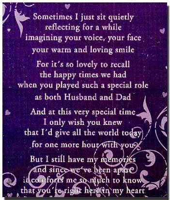 loving memory poems picture husband | In Loving Memory Poems For Dad In loving…