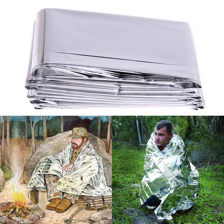 Camping Mat Pad Silver Thin Emergency Survival Rescue Curtain Outdoor Life-saving Blanket Camping Mat US#V