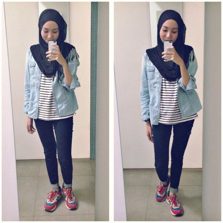 ootd. casual hijab outfit, sporty style denim shirt, jeans, stripe, new balance sneakers, pashmina  Syaifiena W lookbook.nu/syaifiena