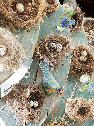 Birds' nests become art when perched on salvaged curving stair treads.