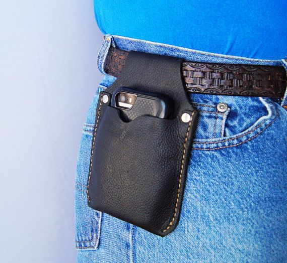 Phone Holster Black Leather Cell Phone Belt case Black