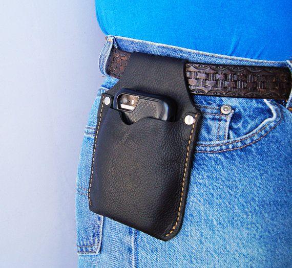 Phone Holster Black Leather Cell Phone Belt case Black