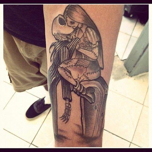 Nightmare Before Christmas Jack Skellington and Sally.  Done in Los Angeles, CA at Tattoo Lab.  Tattoo Artist Kurt Vanderjagt  @kvjtattoos.tumblr.com