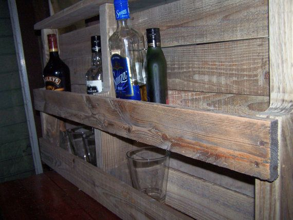 Wall Hanging Liquor Bar Shelf made from Recycled by Drucycle