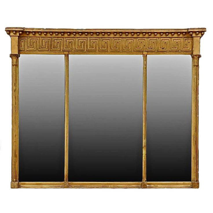 greek mirrors | Period Regency Giltwood Overmantle Mirror with Greek Key at 1stdibs