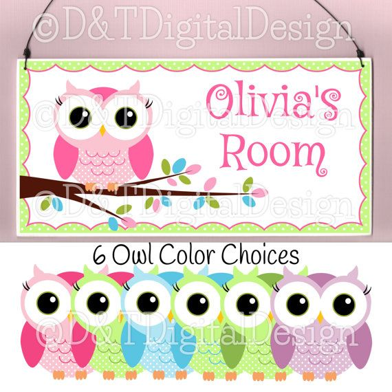Owl Door Sign 10x5 Plaque 6 Color Choices Owl Room Decor Kid Teen Personalized Name Sign, Kids Name Sign, Kids Door Sign, Baby Nursery Decor