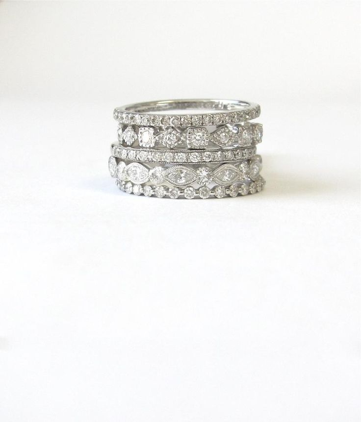 An alternative to the traditional engagement ring + wedding band line-up. Try stacking a selection of diamond encrusted bands on your ring finger instead.