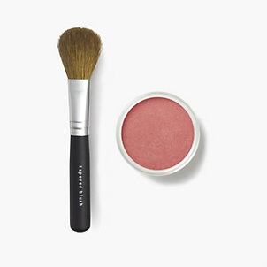 """5.""""color I can't get enough of lately!""""  Bare Minerals blush in """"Cheerful"""" and the Tapered Blush Brush!  #bareMinerals #READYtowin"""