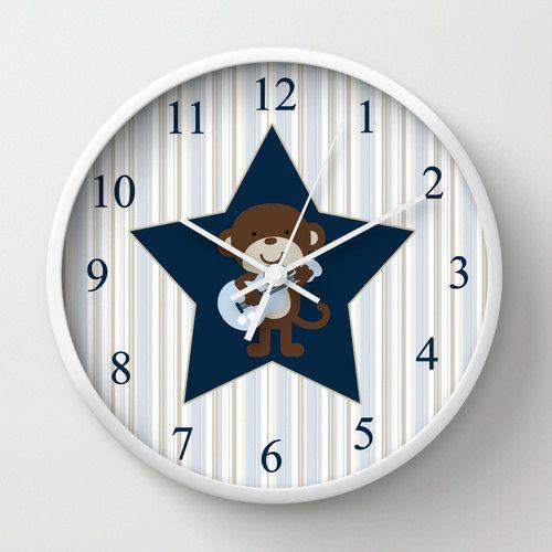 Monkey Rockstar Unique Nursery Wall Clock. Nursery by cyamonday