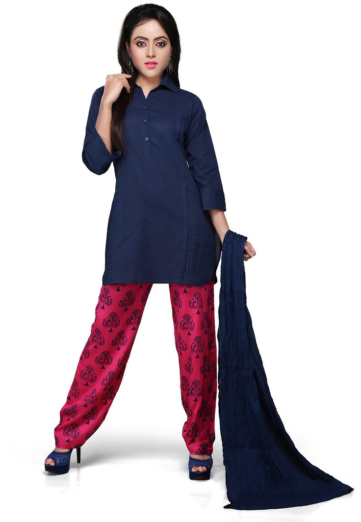 DARK BLUE COTTON READYMADE KAMEEZ WITH TROUSER PANT