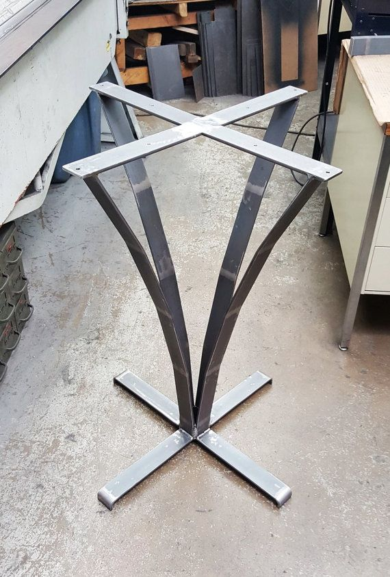 This listing is for one Steel Base Leg for round or squire coffee table 34 H - 24x 24 on top and 25 x 25 on bottom - Made from 2 by 1/4 thick Flat Steel Bar. - Leg are predrilled. - Finish: - Uncoated, Clear coated, Black Flat ** Not included Screws