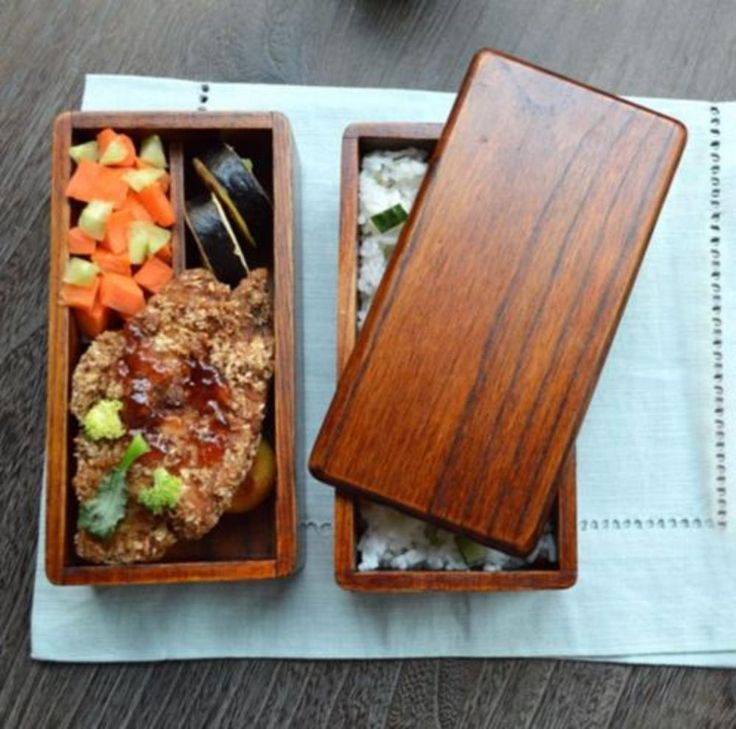 Japanese Natural Wooden Lunch Box Curve Square Oval Double Layer Sushi Bento Box #Handmade