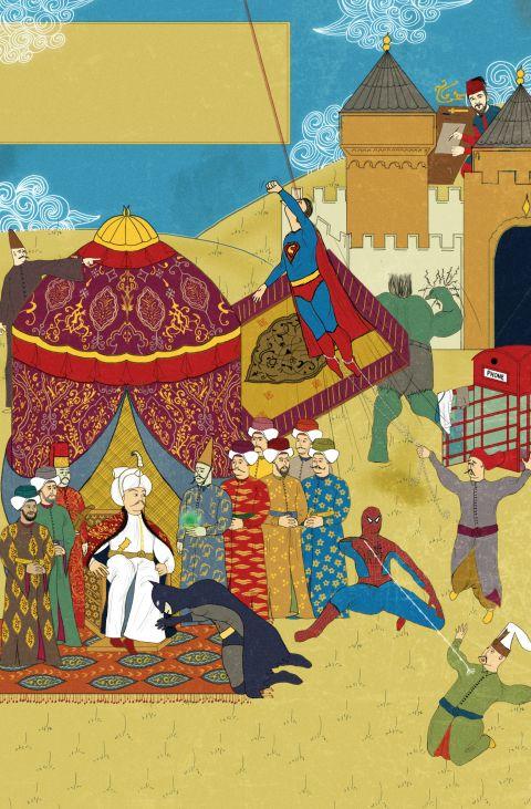 mümtaz kahrmanlar - Yavuz Sultan Selim - Superman - Spiderman - Batman - the Hulk - Superheroes - Turkish Miniature Painting - Minyatür Sanatı - Yeniceri Kahvesi