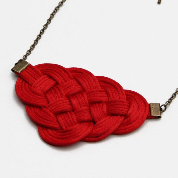 Red knot satin rope statement necklace by SophiesKnotShop on Etsy