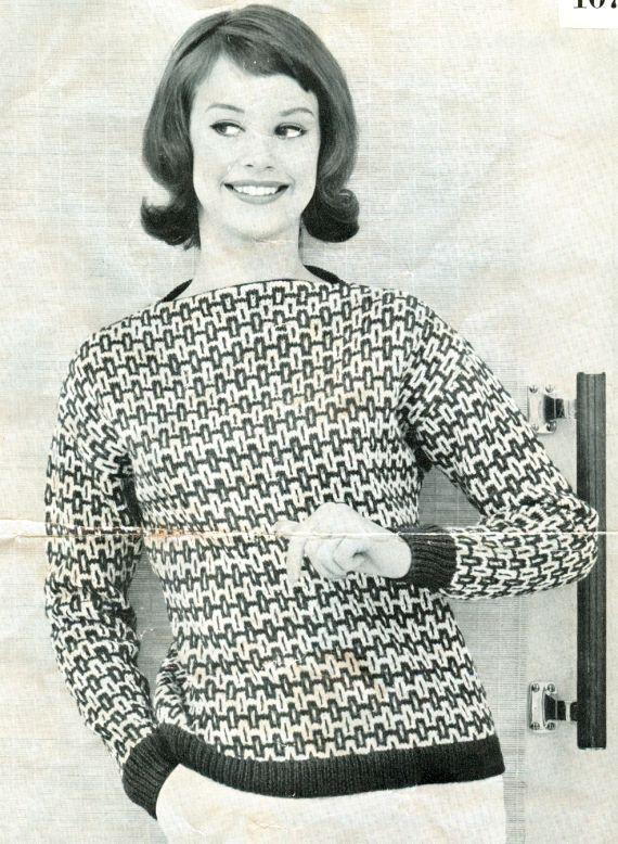 mönstrad 60-talspullover