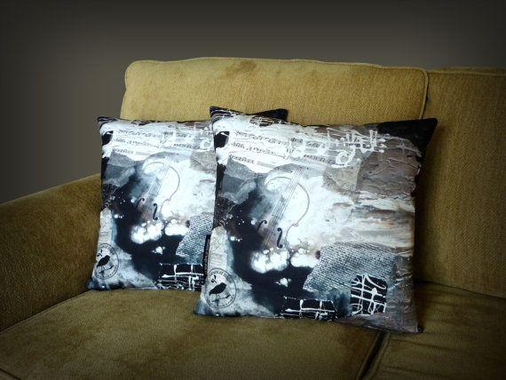 'Beautiful Music' Art Cushion | Throw Pillow - Unique original designs | soft, silky, luxurious! $65 http://coloursofhope.com.au/store?category=cushion