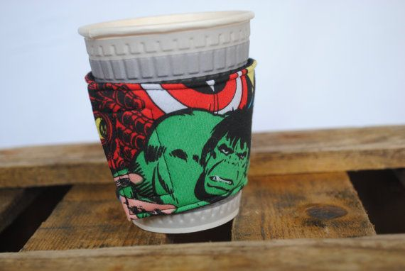 Coffee cup cuff - fabric velcro close, handmade with Marvel fabric (UK based)