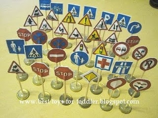 homemade traffic signs to go with those little matchbox or hot wheels cars
